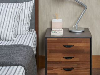 Brown Walnut Finish Carson Carrington Hobro Multicolored 3 drawer Nightstand Retail  108 49