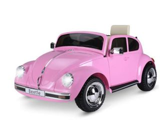 Aosom licensed Volkswagen Beetle Ride on Kids Electric Car  Pink  Retail 219 99