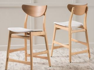 Carson Carrington lund Wood 24 inch Counter Stool  Set of 2  Retail 175 99