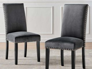 Parcel Performance Velvet Dining Side Chairs   Set of 2 in Charcoal
