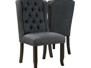 Furniture of America Tays Rustic linen Fabric Dining Chairs   Set of 2    Retail 394 99