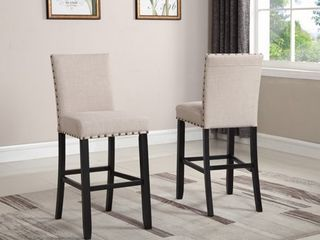 Roundhill Biony Tan Fabric Bar Stools with Nailhead Trim  Set of 2