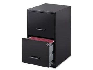 lorell 2 Drawers Vertical Steel lockable Filing Cabinet  Black 25Tx12Wx18D