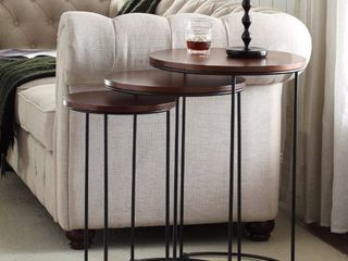 Carbon loft lamarr Metal and Wood Brown Round Nesting Table Set  Retail 157 49