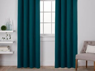 Set of 2 Sateen Twill Weave Insulated Blackout Grommet Top Window Curtain Panels Teal   Exclusive Home