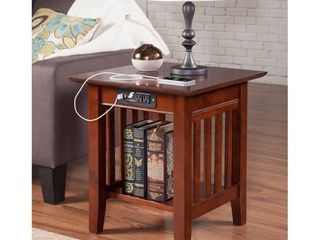 Mission End Table with Charging Station in Walnut  Retail 134 49