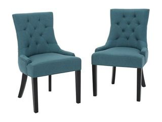 Dark Teal  Hayden Tufted Dining Chair Set  Set of 2  by Christopher Knight Home  Retail 239 49