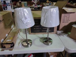 Pair of Brushed Nickel Side Table lamps with USB Plug Ins