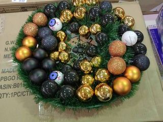 Halloween Wreath for Front Door with Spider and Eyeballs Ornaments