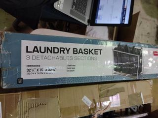 laundry Basket with 3 Detachable Sections