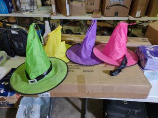 lot of Colorful light Up Witches Hats