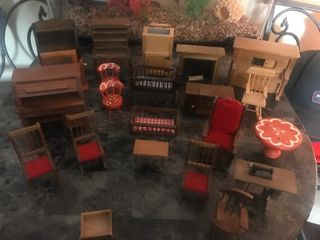 large lot of doll house furniture as pictured