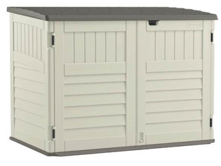 New in box outdoor storage unit box is not in the best shape