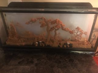 Wide Asian cork art piece 4 inches thick by 14 inches tall by 18 inches wide