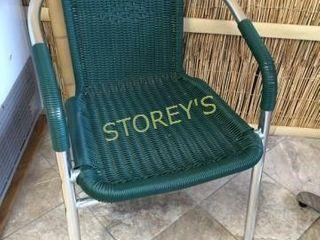 Green Metal & Wicker Patio Chair