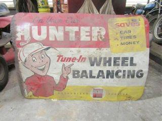 Hunter Wheel Balancing Metal Sign