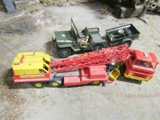 Assorted Toys  GIJO jeep w  trailer  Super crane