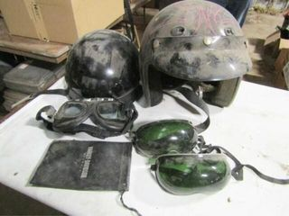 2 ea  motorcycle helmets  size Med and 3 goggles