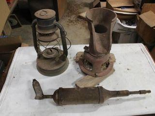 lantern  Antique Grease Gun  Vintage Pitcher Pump