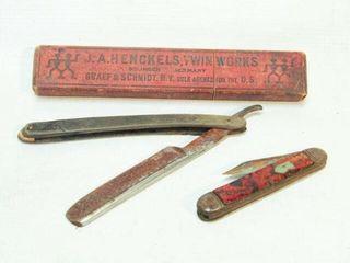 Vintage Straight Razor  Box   Pocket Knife