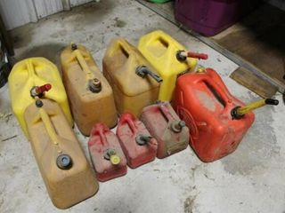 9 ea assorted plastic fuel cans