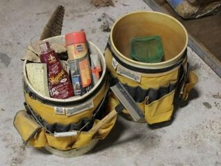 2 ea Plastic 5 gal Buckets with car wash supplies