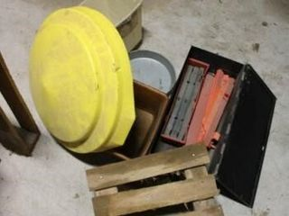 Assorted Plastic containers   metal box flare kits