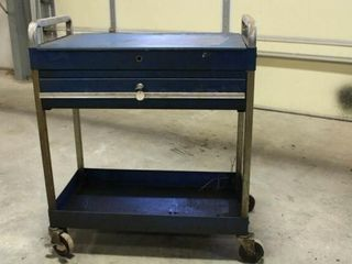 Tool cart on wheels with lid and 1 drawer