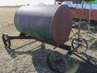 500  gal Fuel Tank on metal frame w steel wheels
