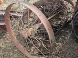 6 Ea  Assorted Antique Steel Wheels