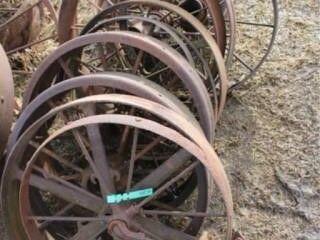 12 ea  Assorted Antique Steel Wheels