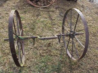 2 Ea Antique 34IJ Steel wheels  w  cultivator frame