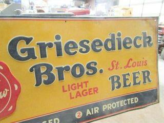 Vintage Griesedieck Bros  Tin Beer Sign