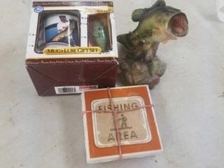 FISHING COASTERS  FISH FIGURINE  MUG AND lURE SET