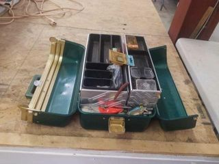 TACKlE BOX WITH FISHING ITEMS