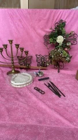 JEWISH MENORAH BRASS CANDlE HOlDER AND OTHER
