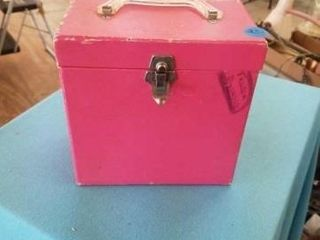 ANTIQUE PINK RECORD BOX WITH 62