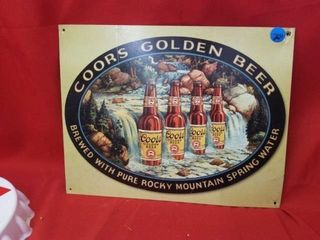 12 1 2  X 16  COORS WATERFAll METAl SIGN