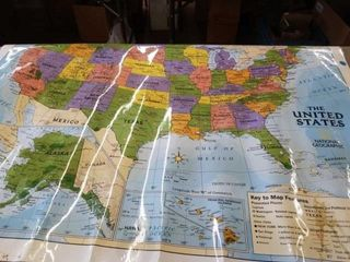 51  X 41  PlASTIC COATED MAP OF THE UNITED STATES