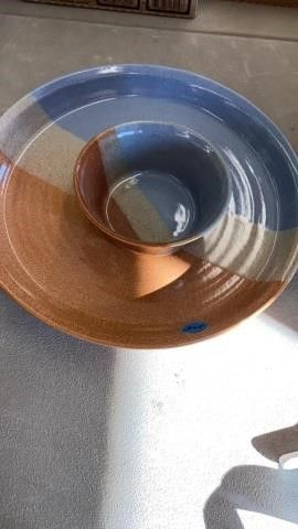 13 INCH PlATTER AND 6 INCH BOWl POTTERY