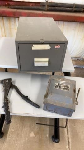 FIlE CABINET  ANTIQUE RIVETER AND ElECTRICAl BOX