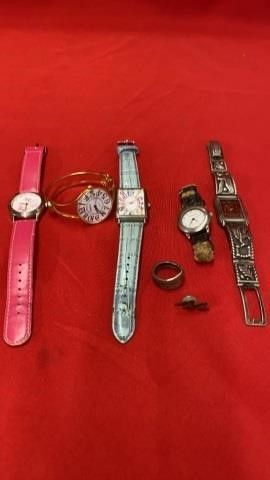 5 WATCHES   lIGHTING BOlT PIN AND SPOON RING