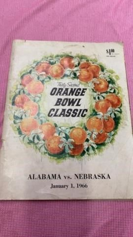 1966 ORANGE BOWl PROGRAM NEBRASKA   AlABAMA