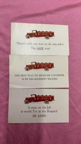 1930IJS VINTAGE TEXACO OIl SAFETY CARDS