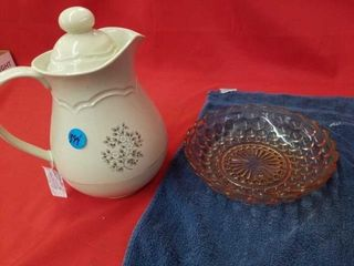 ANTIQUE BOWl AND PFAlTZGRAFF COFFEE DECANTER