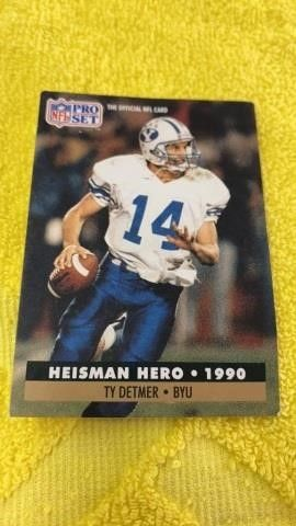 TY DETMER 1990 HEISMAN HERO FOOTBAll CARD  PRO