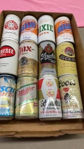 DOZEN OF VINTAGE BEER CANS