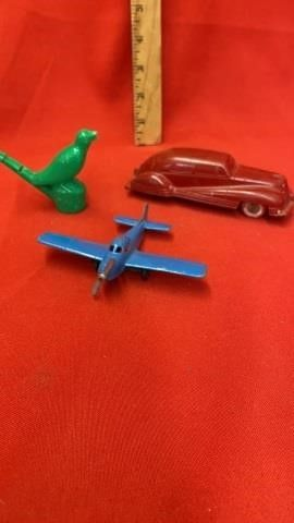 3  VINTAGE TOYS IJCAR  AIRPlANE AND BIRD WHISTlE