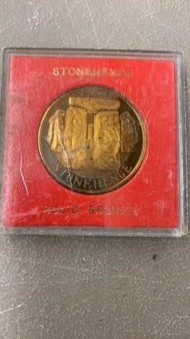 SOlID BRONZE STONEHENGE PROOF COIN