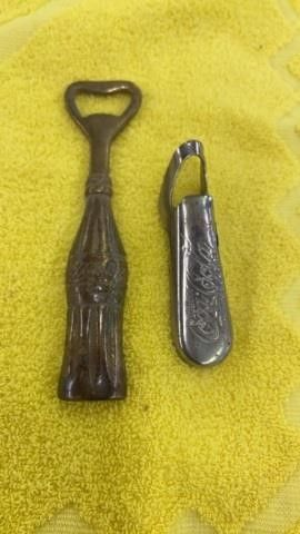 2 VINTAGE COCA COlA BOTTlE OPENERS  1 IS SOlID